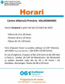 Horari provisional CAP Vallromanes
